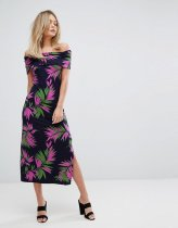 Warehouse Graphic Palm Print Midi Dress
